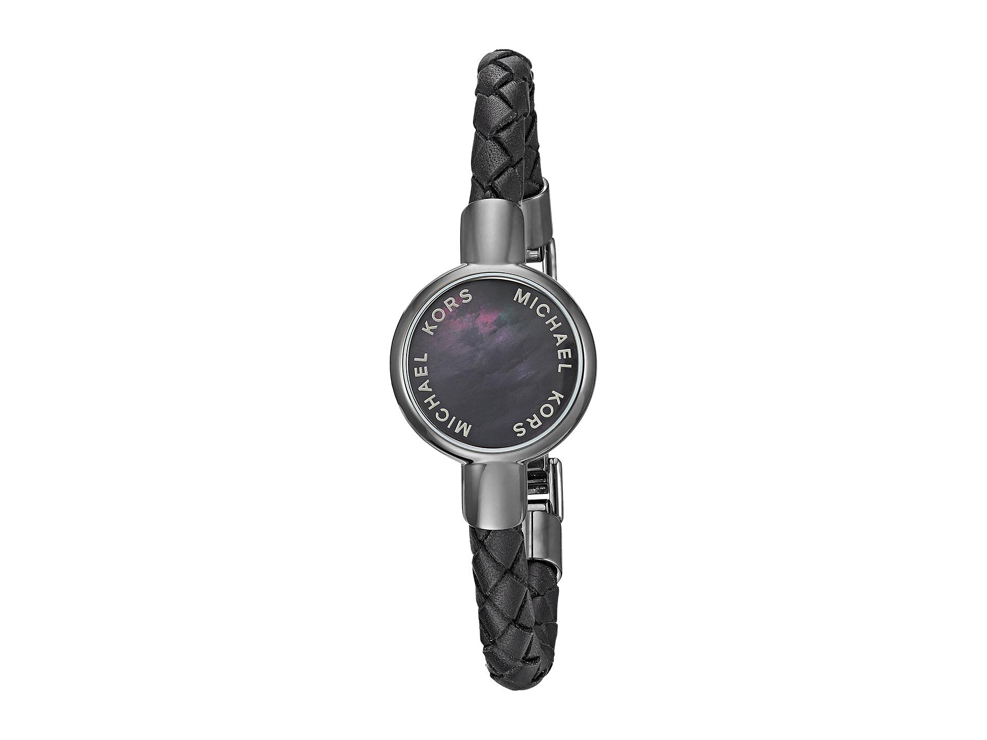 michael kors access leather tracker bracelet black. Black Bedroom Furniture Sets. Home Design Ideas
