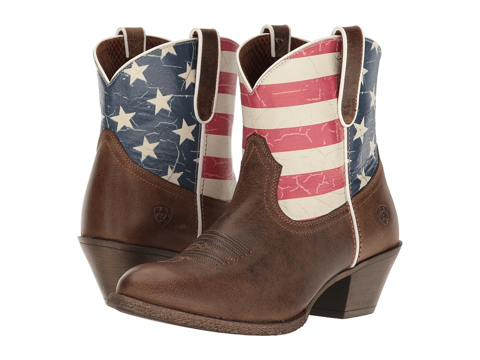 Ariat Old Glory Gracie (Distressed Brown/American Flag Print) Cowboy Boots