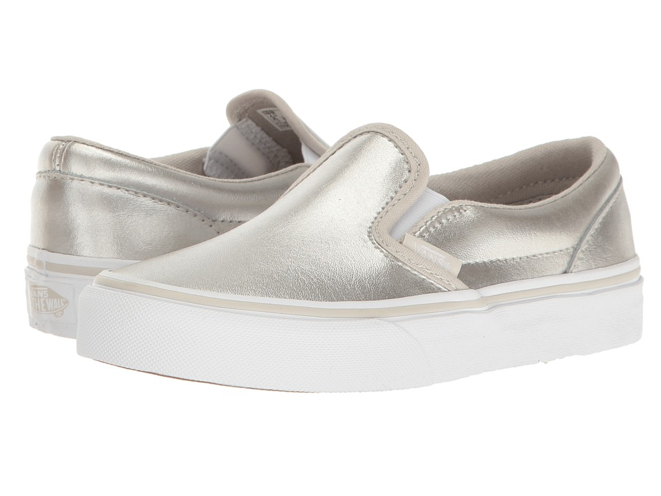 Vans Kids Classic Slip-On (Little Kid/Big Kid) ((Metallic) Silver/True White 1) Girls Shoes