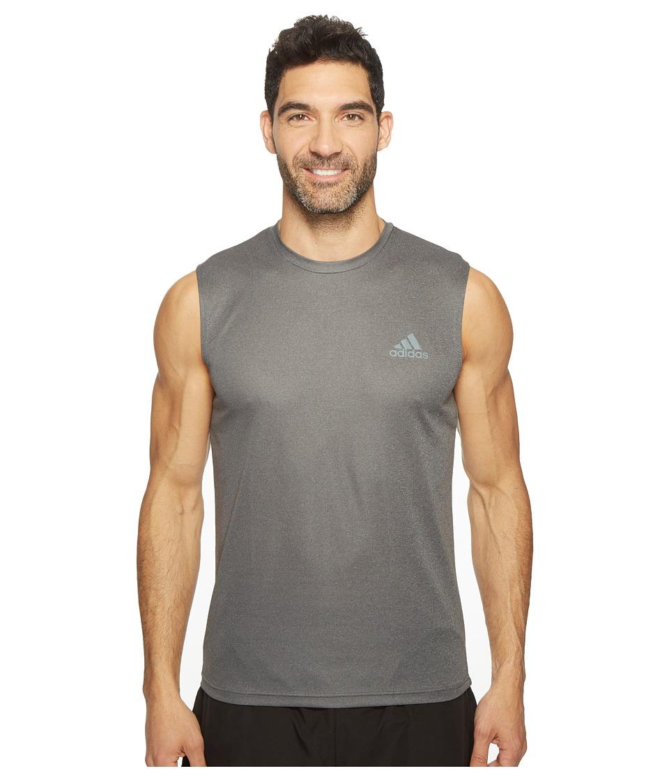 adidas Essentials Tech Sleeveless Tee (Dark Grey Heather/Vista Grey) Men