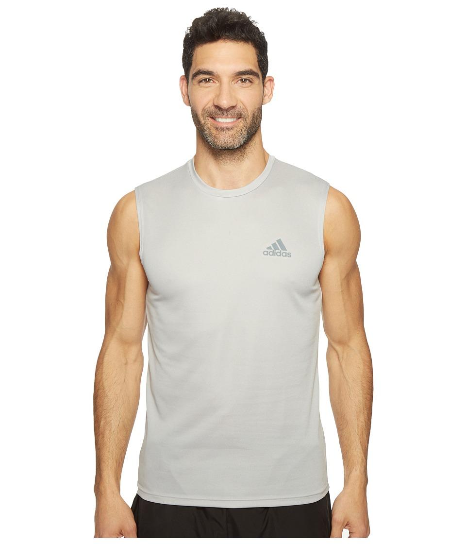adidas Essentials Tech Sleeveless Tee (Medium Grey Heather/Vista Grey) Men