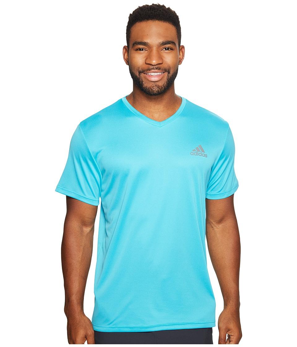 adidas Essential Tech V-Neck Tee (Energy Blue/Vista Grey) Men