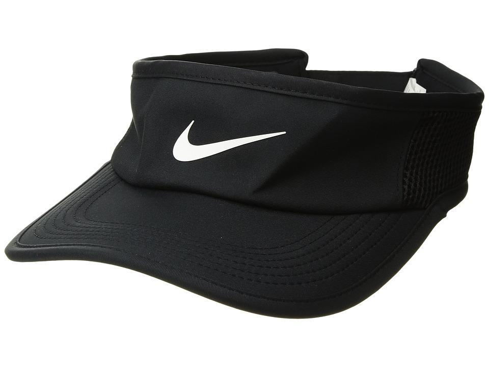 Nike - Aerobill Featherlight Visor (Black/Black/White) Baseball Caps