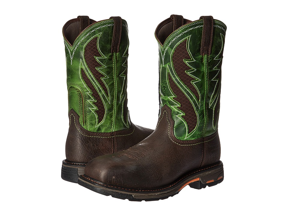 Ariat Workhog WST Venttek CT (Bruin Brown/Grass Green) Me...