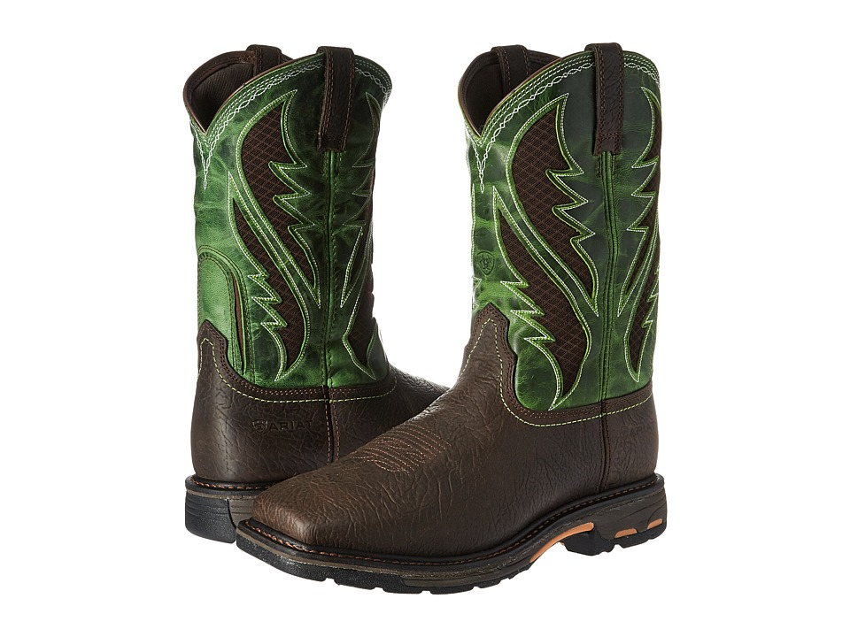 Ariat Workhog Venttek Soft Toe (Bruin Brown/Grass Green) ...