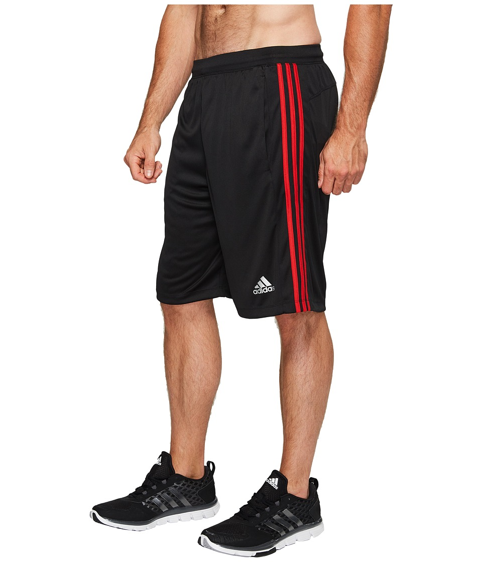adidas Big Tall Designed-2-Move 3-Stripes Shorts (Black/Black/Scarlet) Men