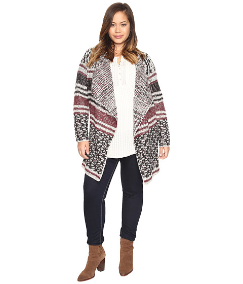 Lucky Brand Plus Size Mixed Stripe Cardigan - Multi