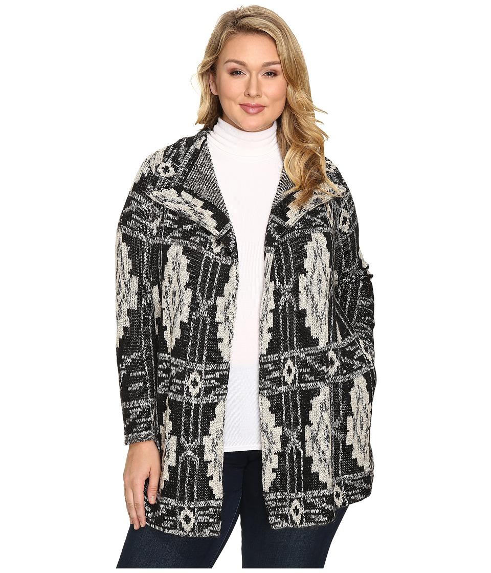 Lucky Brand Plus Size Deco Cardigan (Black Multi) Women
