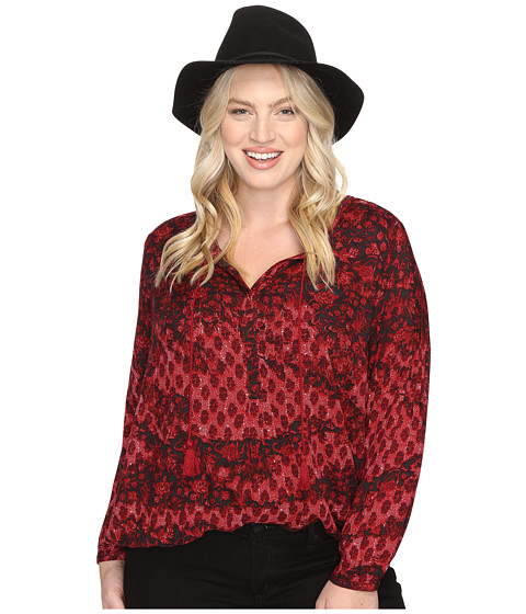 Lucky Brand Plus Size Floral Peasant Blouse - Red Multi