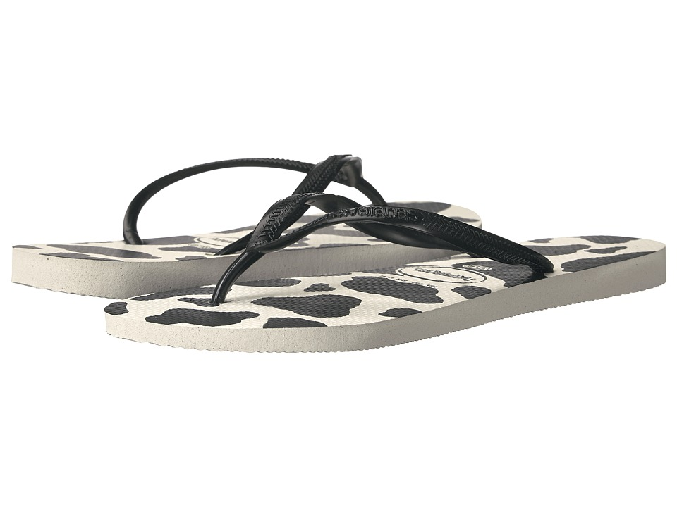 Havaianas Slim Animals Flip Flops (White/Black) Sandals
