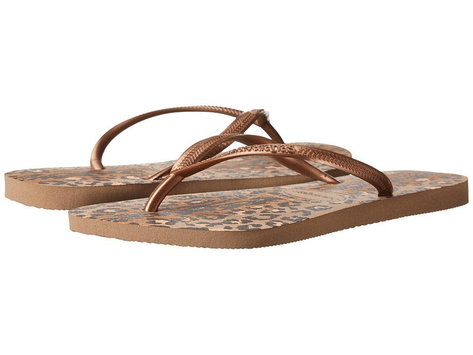 Havaianas Slim Animals Flip Flops (Rose Gold) Sandals