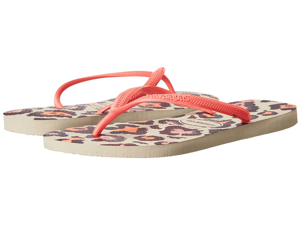 Havaianas Slim Animals Flip Flops (Beige/Coral New) Sandals