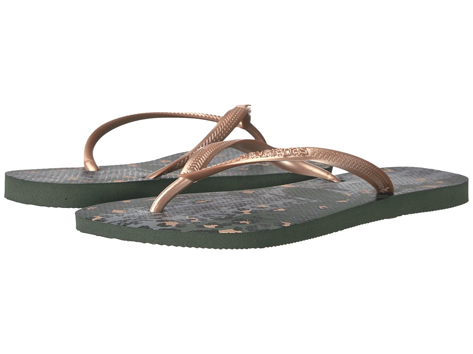 Havaianas Slim Animals Flip Flops (Green Olive) Women