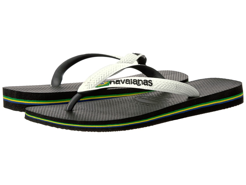 Havaianas - Brazil Mix Flip Flops (Black/White) Men's Sandals