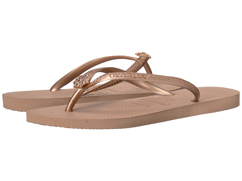 Havaianas - Slim Crystal Poem Flip Flops (Rose Gold 1) Women's Sandals