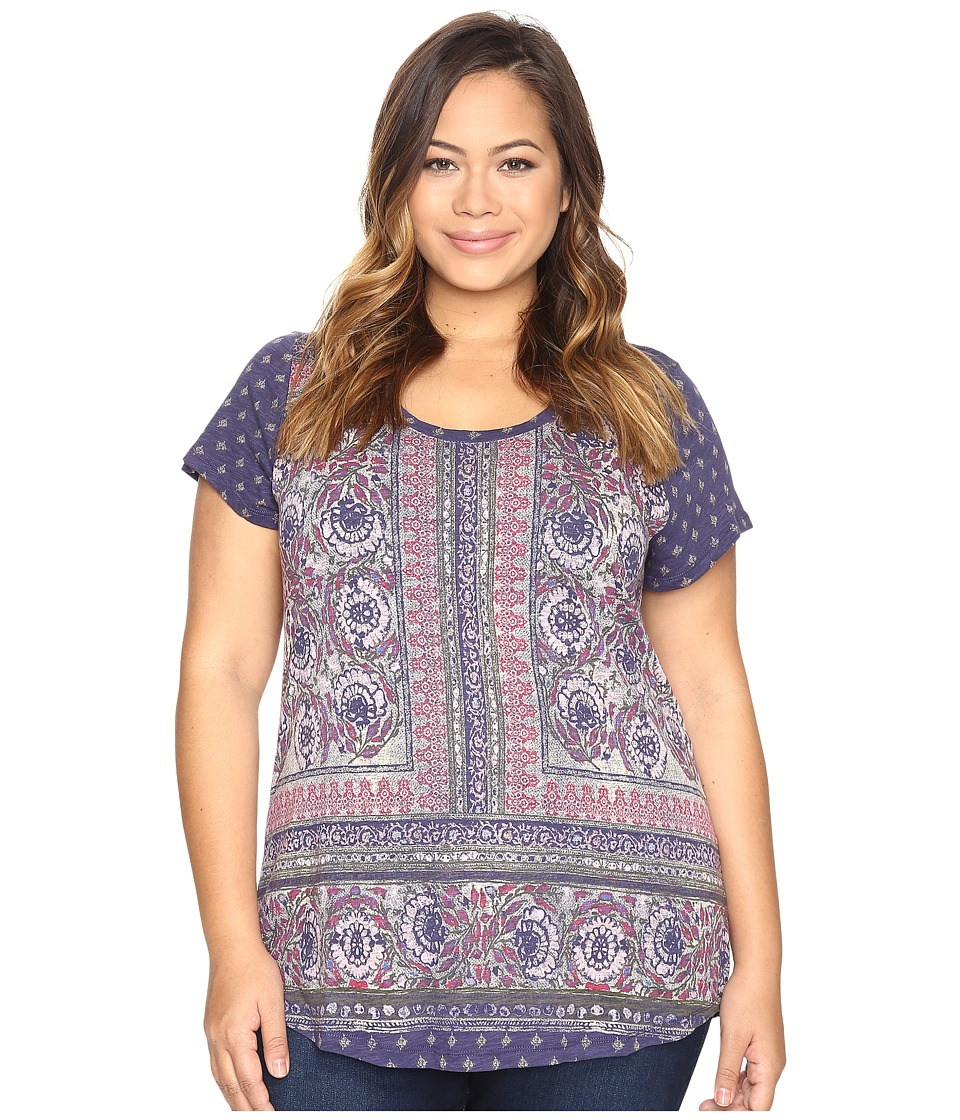 Lucky Brand Plus Size Painted Border Tee (Blue Multi) Women