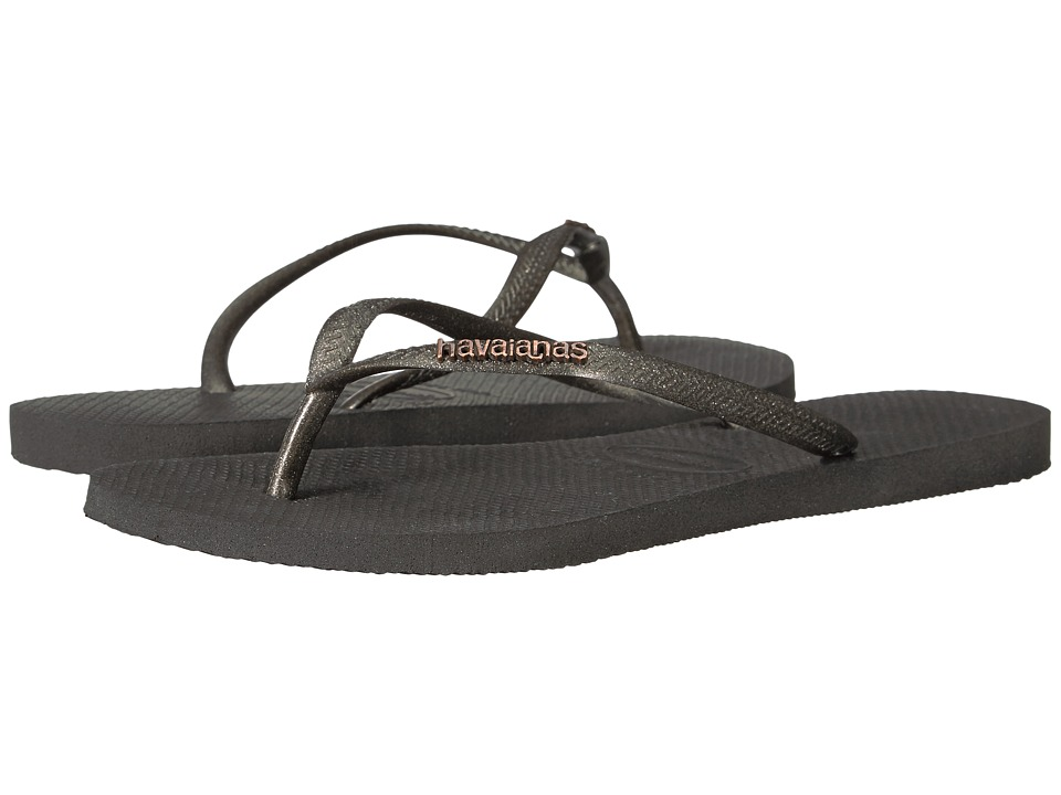 Havaianas Slim Logo Metallic Flip Flops (Black/Gold) Women