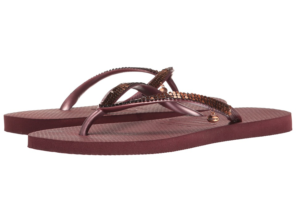 Havaianas Slim Metal Mesh Flip Flops (Grape Wine) Women