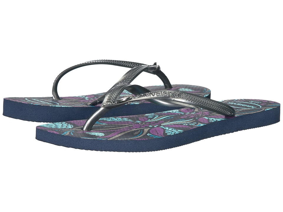 Havaianas Slim Royal Flip Flops (Navy Blue) Women