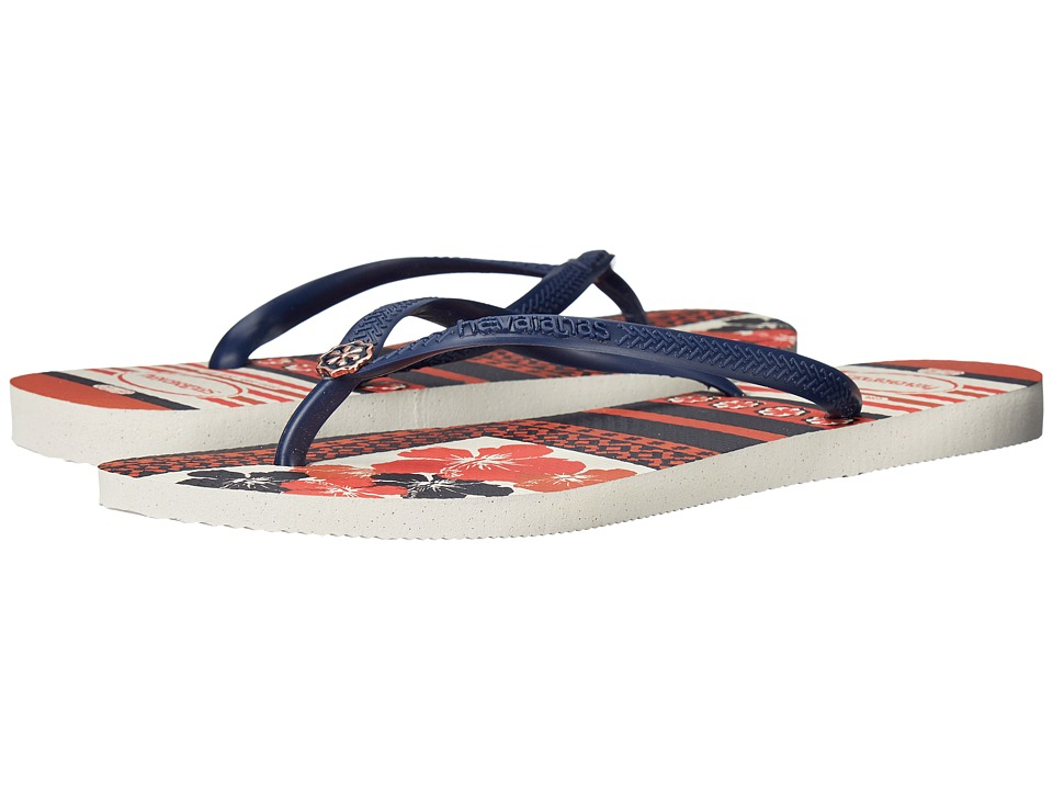 Havaianas Slim Thematic Flip Flops (White/Navy Blue) Women