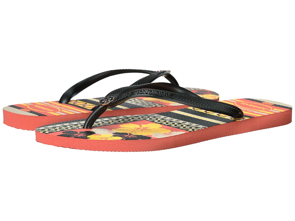Havaianas Slim Thematic Flip Flops (Orange Cyber) Women