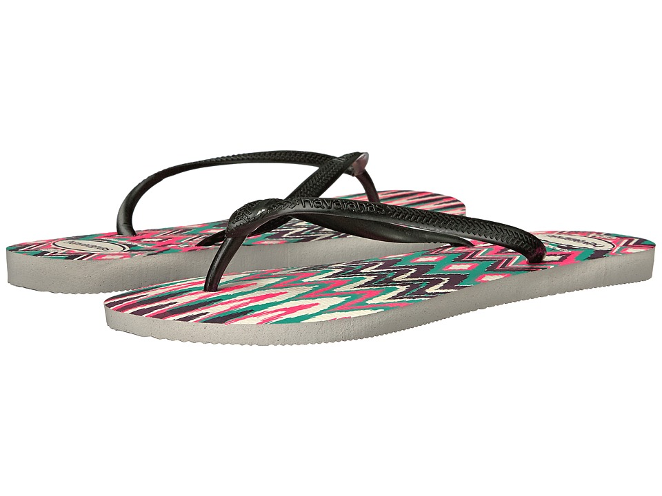 Havaianas Slim Tribal Flip Flops (White/Black/Pink) Women
