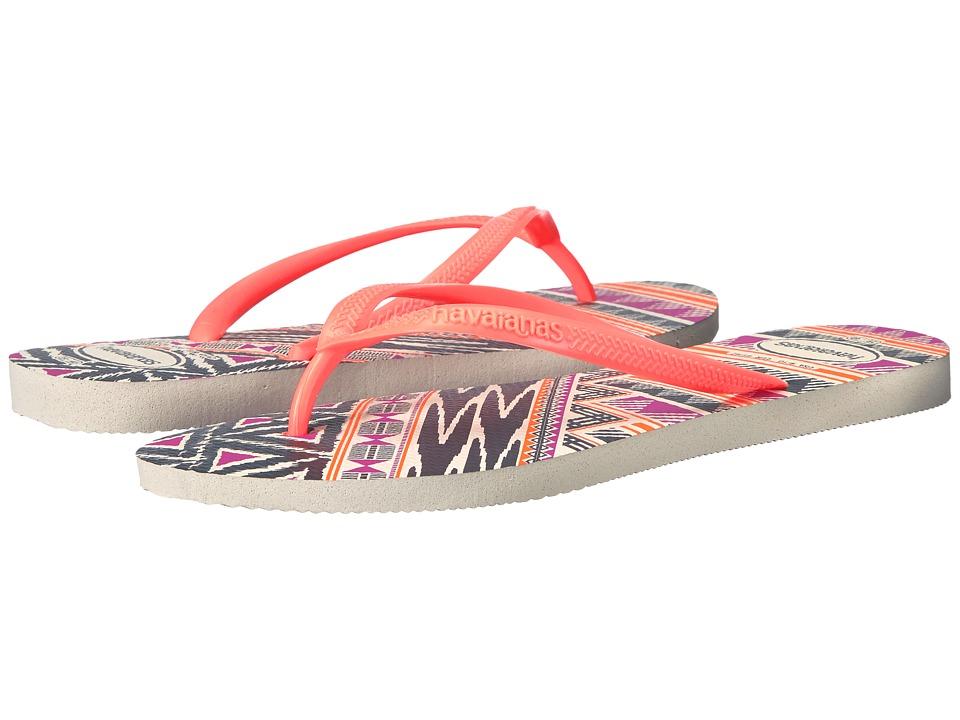 Havaianas Slim Tribal Flip Flops (White/Orange) Women