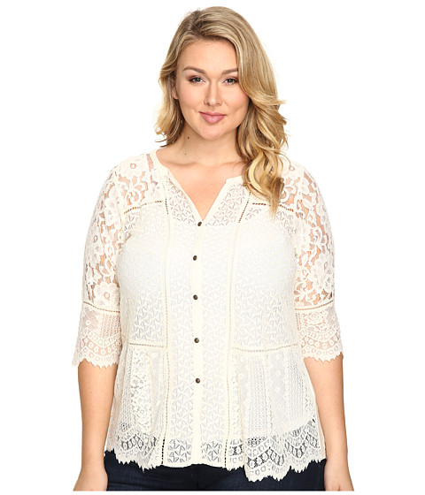 Lucky Brand Plus Size Lace Mix Top