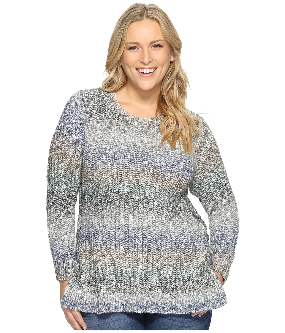 Lucky Brand Plus Size Ombre Lace-Up Pullover (Multi) Women