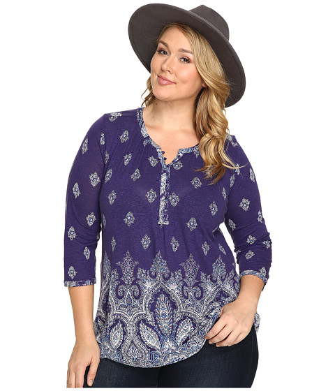 Lucky Brand Plus Size Placed Paisley Print Top