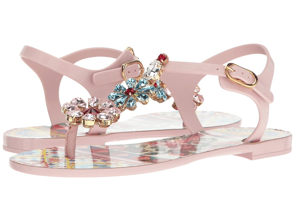 Dolce & Gabbana Carretto Jelly Sandal with Swarovski Crystals (Light Pink) Women