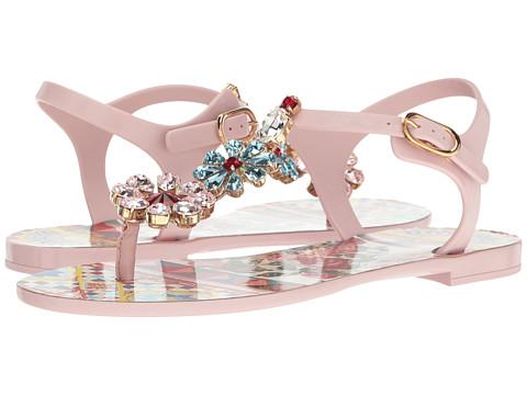 Dolce & Gabbana Carretto Jelly Sandal with Swarovski Crystals - Light Pink