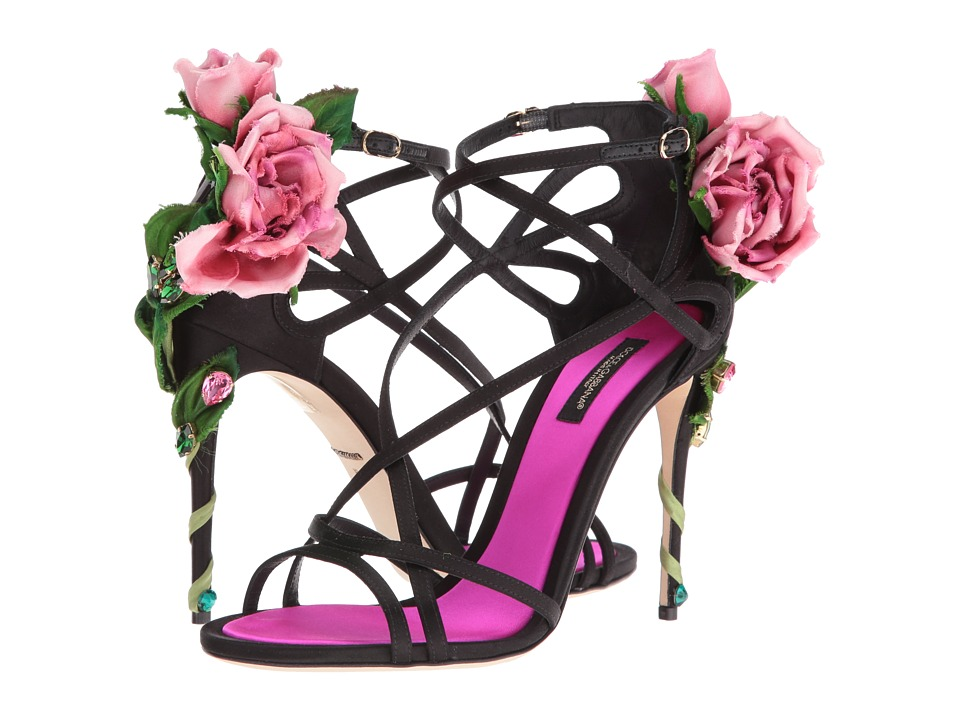 Dolce andamp; Gabbana-Satin Keira Sandal  (Black-Rose) Womens Shoes