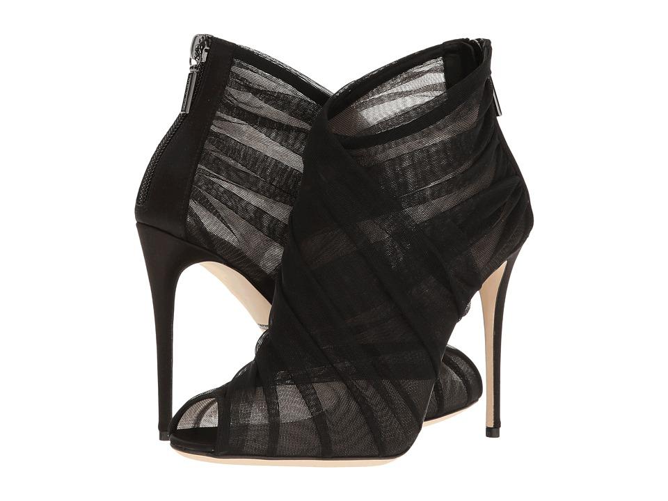 Dolce & Gabbana Tulle Peep-Toe Keira Bootie (Black) Women