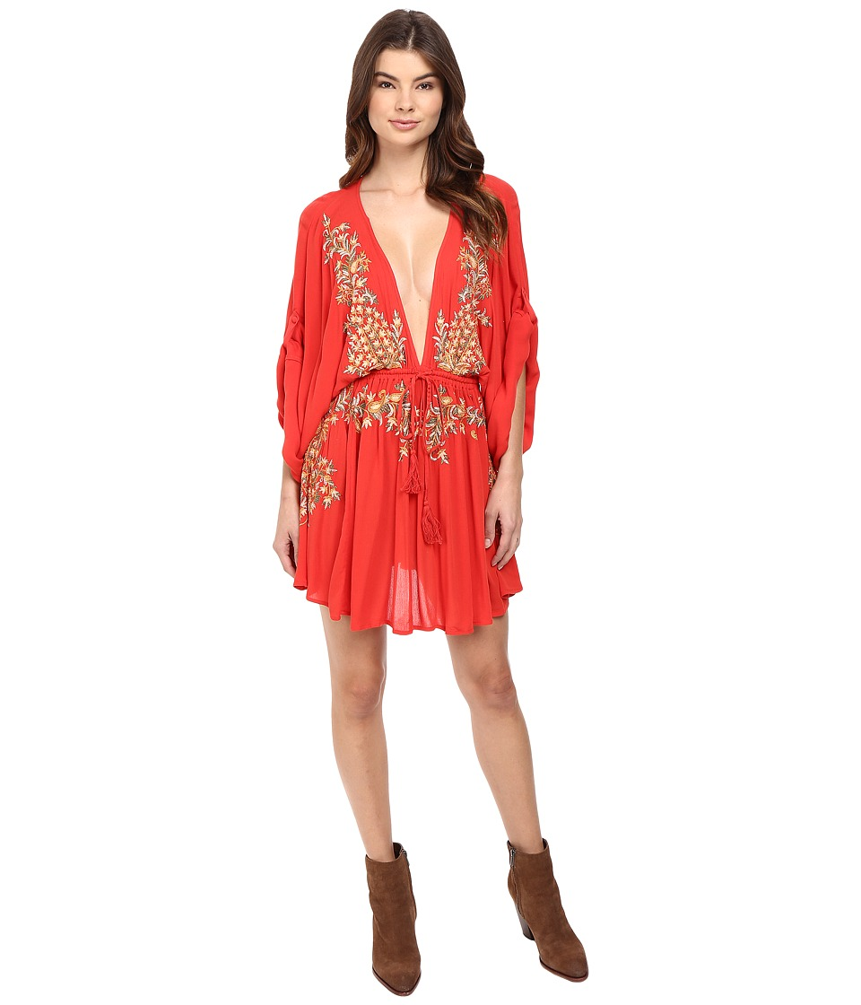 Free People Pretty Pineapple Embroidered Dress (Red) Women