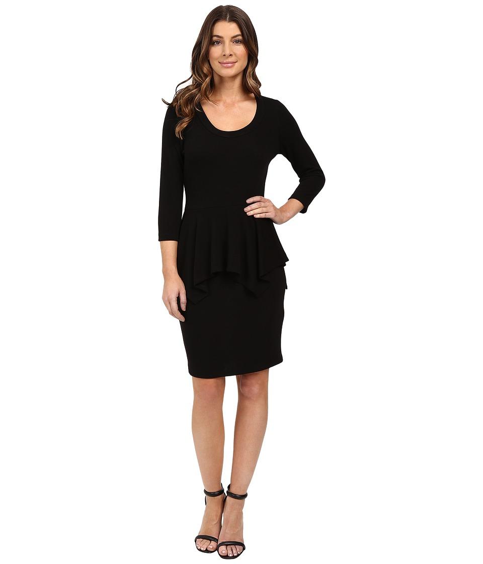 Karen Kane Peplum Sweater Dress (Black) Women