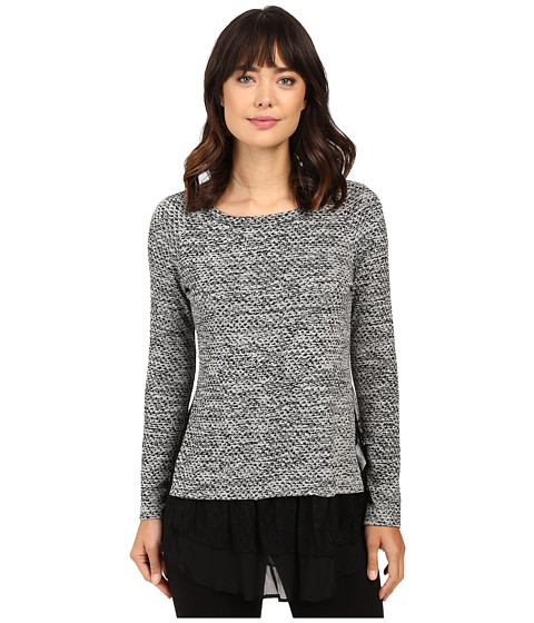 Karen Kane Lace Inset Sweater - Light Heather Grey