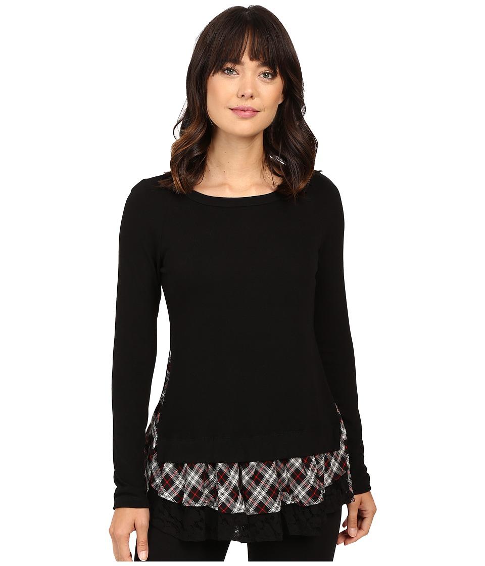 Karen Kane Plaid Inset Sweater (Black/Red) Women