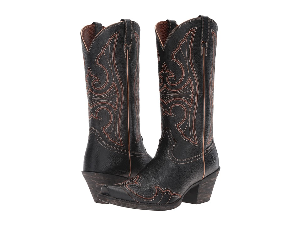 Ariat Round Up D Toe Wingtip (Blaze Black) Cowboy Boots