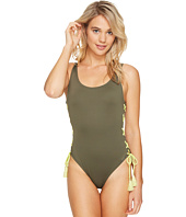 Vince Camuto - Lace-Up Solids U-Neck One-Piece
