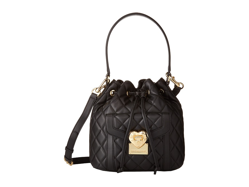 LOVE Moschino - Heart Quilted Bucket Bag (Black) Handbags