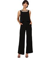 Sangria - Sleeveless Jumpsuit with Embellished Halter Neckline