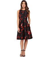 Sangria - Printed Taffeta Fit and Flare with Embellished Neckline