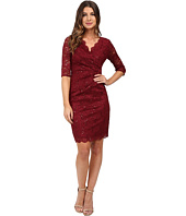 Sangria - Elbow Sleeve Midi V-Neck Sheath