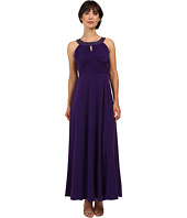 Sangria - Embellished Halter Neck Gown with Waist Pleating
