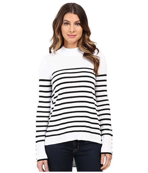 XOXO Stripe Zip Back Mock Neck