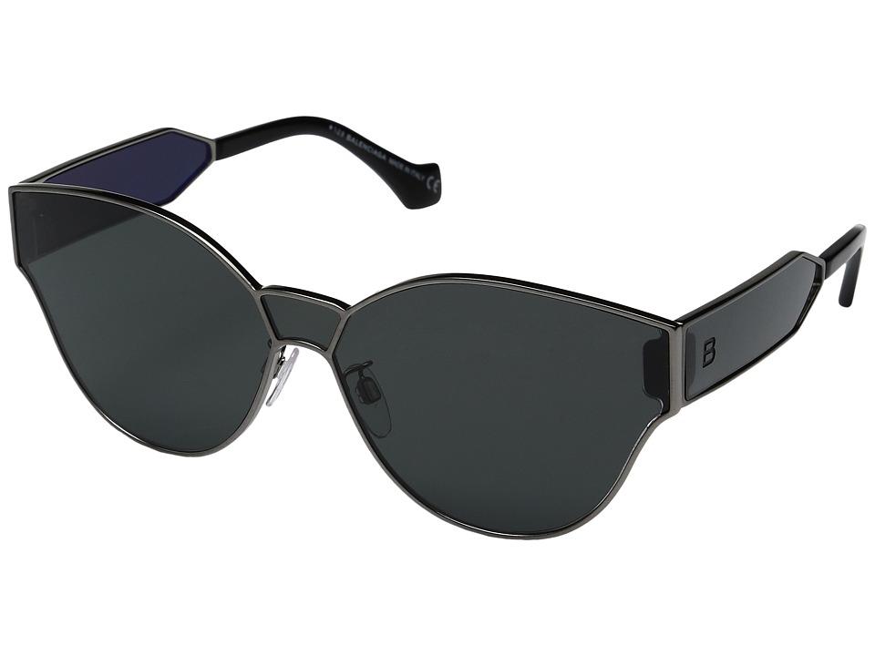 Balenciaga - BA0096 (Semi Shiny Dark Ruthenium/Smoke) Fashion Sunglasses