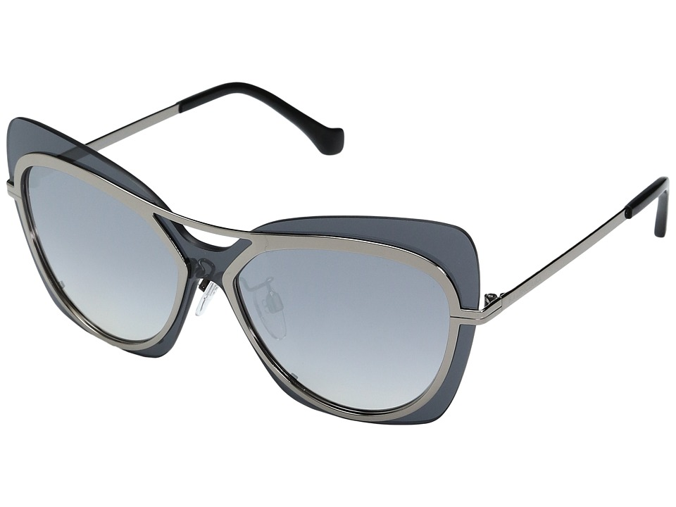 Balenciaga - BA0087 (Dark Ruthenium Metal/Silver Flash/Smoke) Fashion Sunglasses