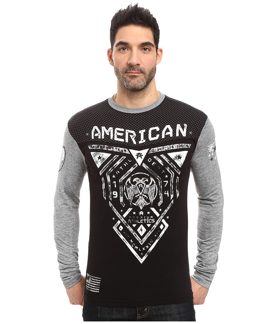 Image of American Fighter - Blue Mountain Long Sleeve Football Crew (Black/Heather Grey Reflective) Men's Clothing