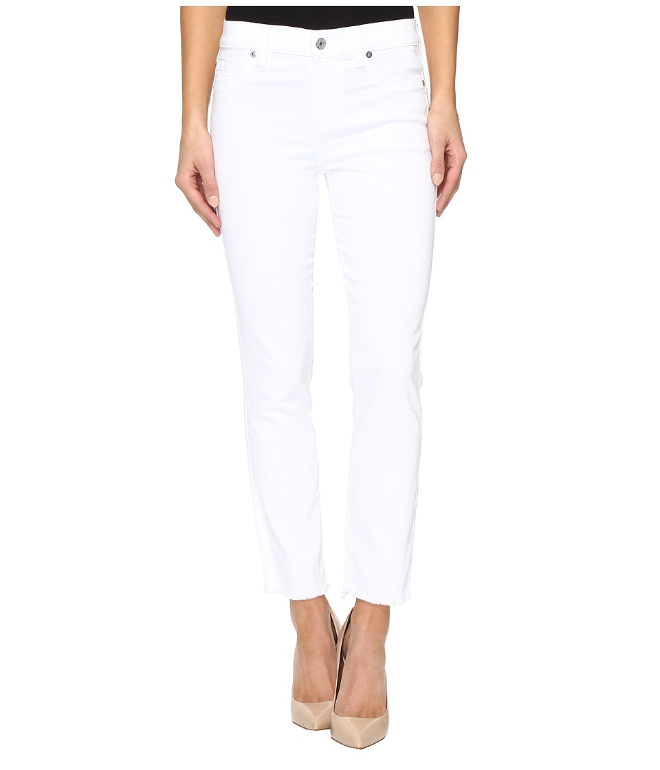 7 FOR ALL MANKIND Roxanne Ankle w/ Raw Hem in White Fashi...